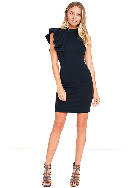 Navy One Ruffle Shoulder Bodycon Dress - girlyrose.com