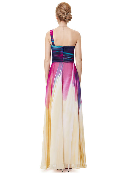 One Shoulder High Waist Maxi Evening Gown Dress - girlyrose.com