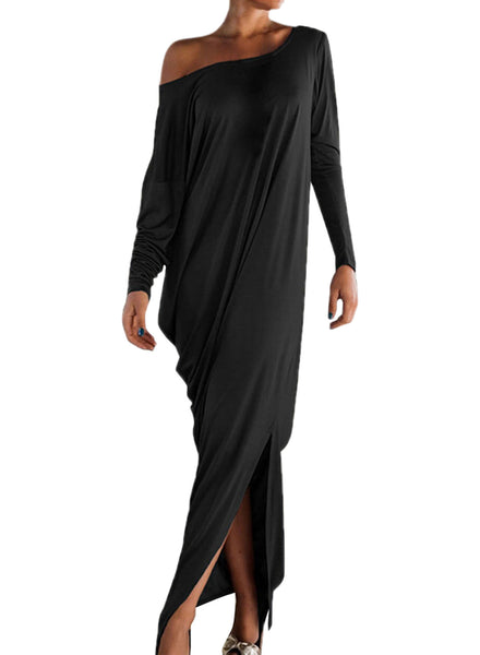 One Shoulder Ruffled Slit Maxi Dress
