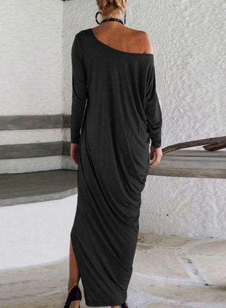 One Shoulder Ruffled Slit Maxi Dress - girlyrose.com