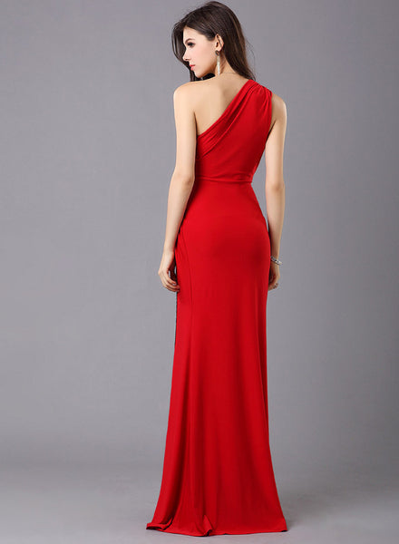 One Shoulder Side Slit Evening Ball Gown Bridesmaid Dress
