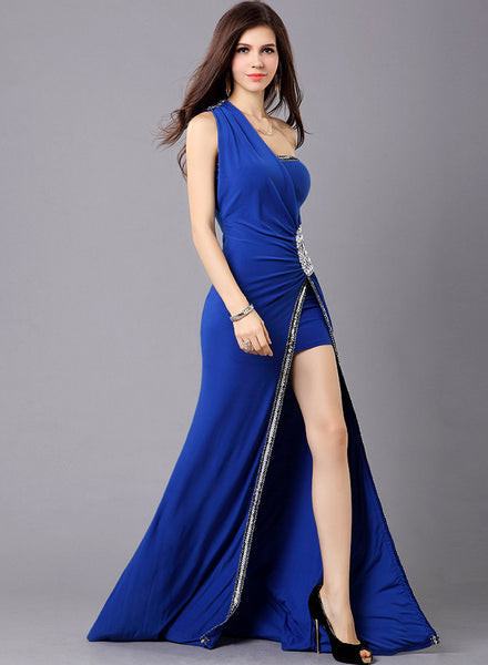 One Shoulder Side Slit Evening Ball Gown Bridesmaid Dress - girlyrose.com