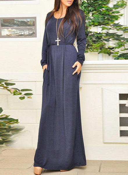 Oversized Stretched Knit Belted Maxi Dress