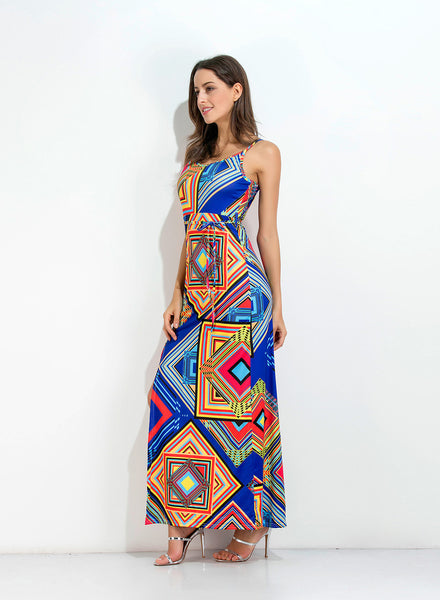 Pattern Print Maxi Dress - girlyrose.com