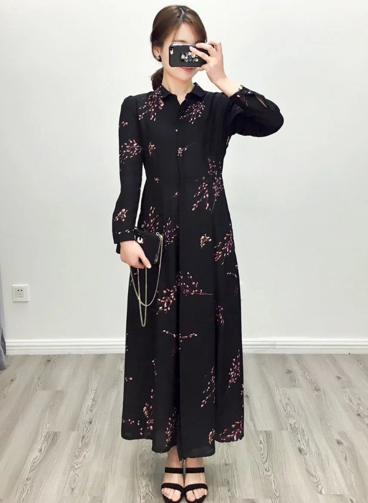 Plum Blossom Print Long Sleeve Maxi Dress