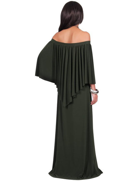 Plus Size Flounce Trim Off Shoulder Dress