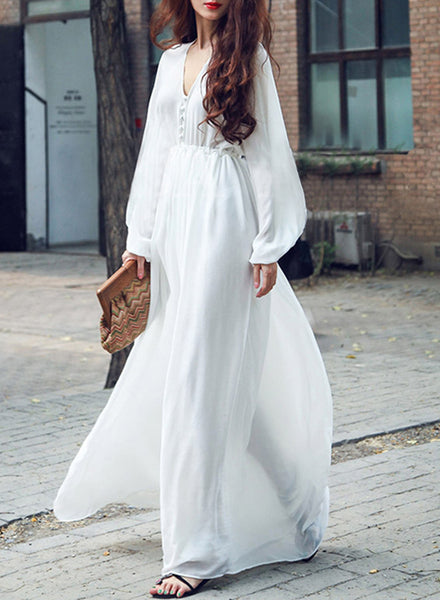 Pure Color V Neck Puff Long Sleeve Maxi Dress - girlyrose.com
