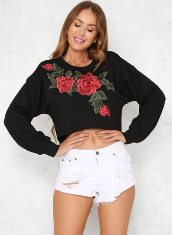 Round Neck Floral Embroidery Pullover Short Sweatshirt - girlyrose.com