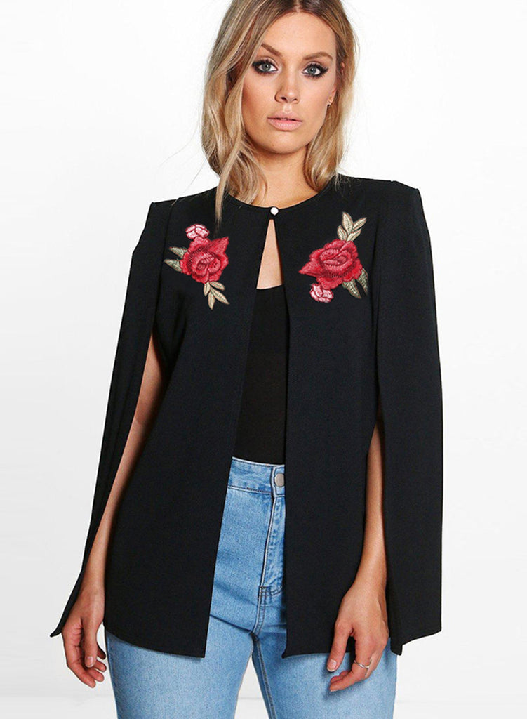 Round Neck Long Sleeve Floral Embroidery Coat - girlyrose.com