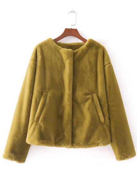 Round Neck Long Sleeve Solid Color Thicken Coat - girlyrose.com