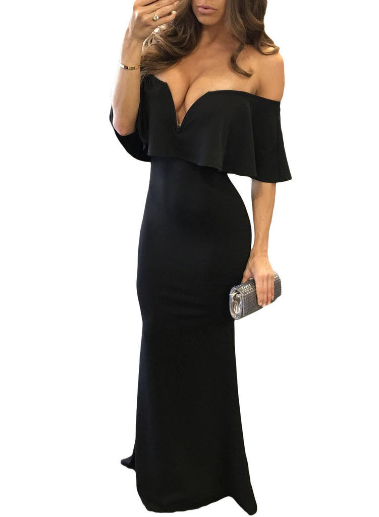 Black Ruffle Off Shoulder Maxi Party Dress - girlyrose.com