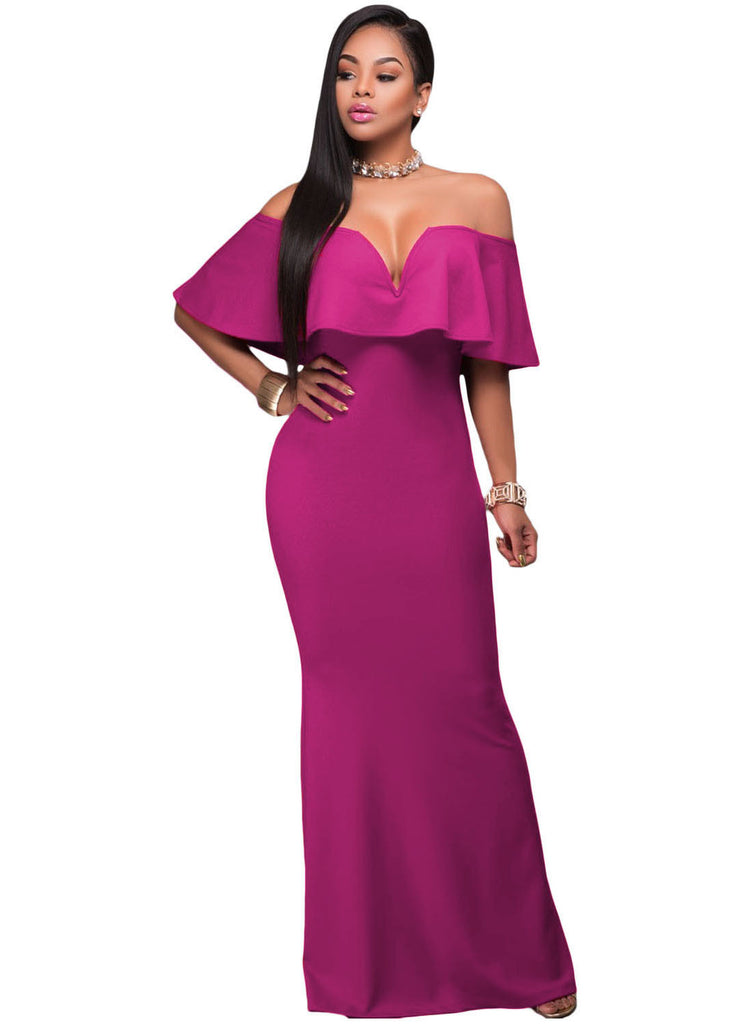 Ruffle Off Shoulder Maxi Party Dress