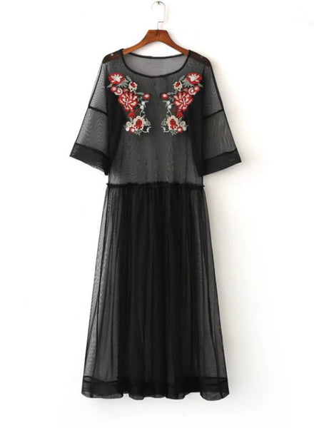 Sheer Mesh Floral Embroidered Maxi Dress
