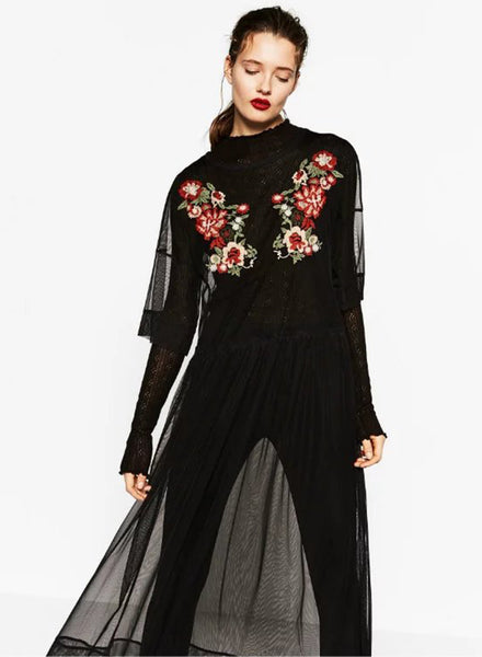Sheer Mesh Floral Embroidered Maxi Dress - girlyrose.com