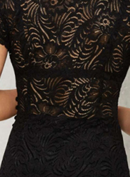Black Short Sleeve Lace Bodycon Mini Party Dress
