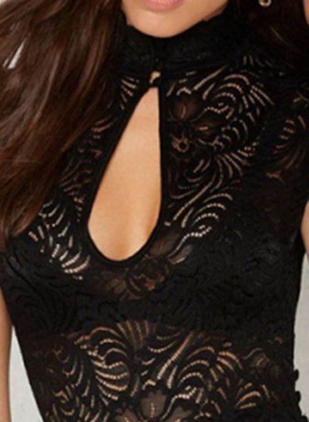 Black Short Sleeve Lace Bodycon Mini Party Dress - girlyrose.com