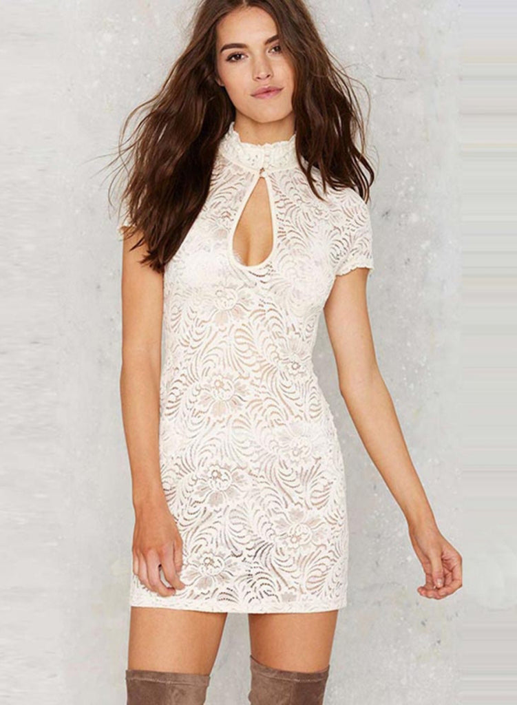 White Short Sleeve Lace Bodycon Mini Party Dress