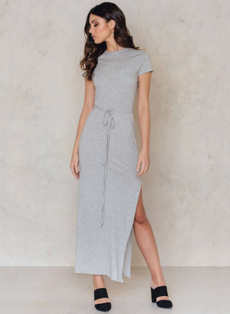 Short Sleeve Side Slit Slim Fit Maxi Dress