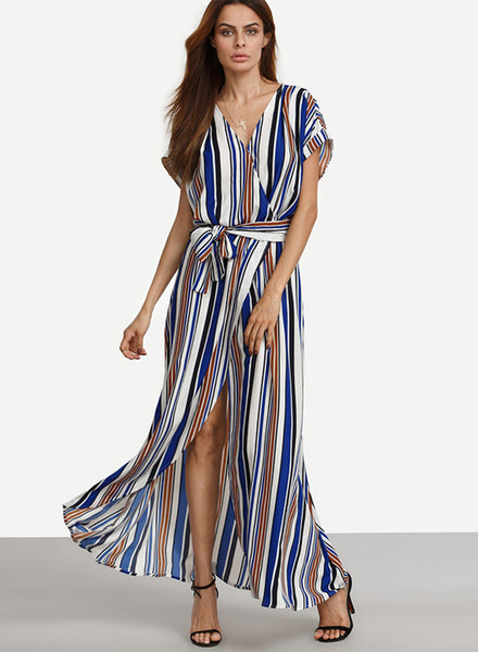 Short Sleeve V Neck Loose Stripped Dress - girlyrose.com