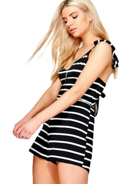 Simple Flounce Lace-up Stripped Jumpsuit - girlyrose.com