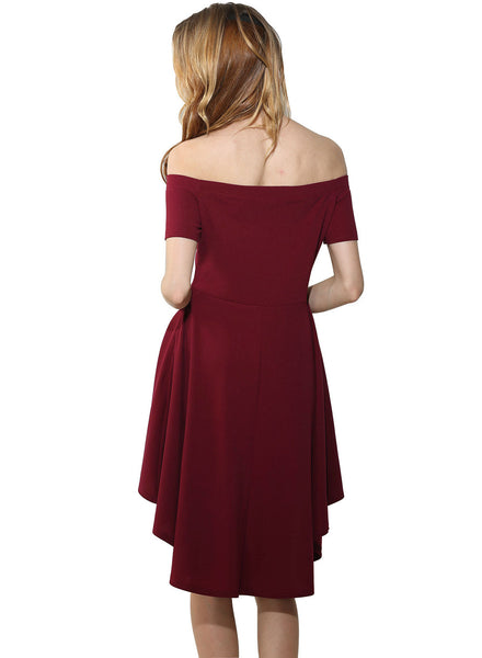 Burgundy Slash Neck Slim Pleated High Low Dress - girlyrose.com