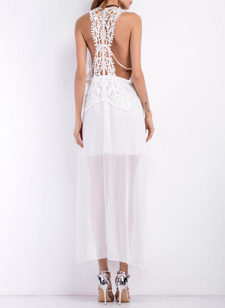 White Sleeveless Backless Side Slit Solid Maxi Dress