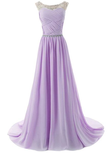 Sleeveless Floor Length Evening Prom Wedding Dress - girlyrose.com
