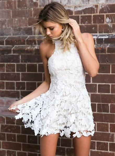 White Sleeveless Floral Lace A-line Mini Dress