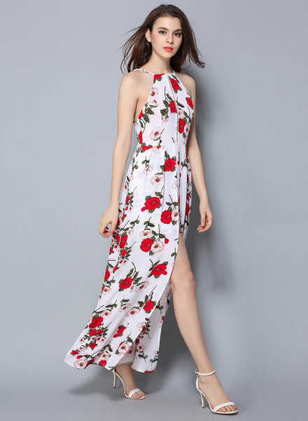 White Sleeveless Floral Printed High Slit Bohemian Maxi Dress