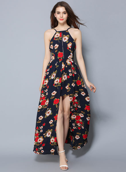 Navy Sleeveless Floral Printed High Slit Bohemian Maxi Dress - girlyrose.com