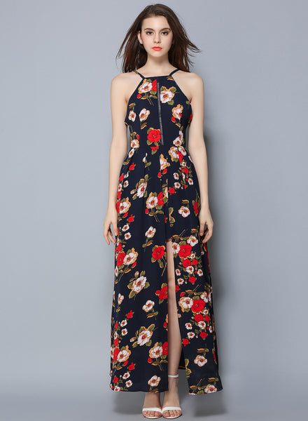 Navy Sleeveless Floral Printed High Slit Bohemian Maxi Dress