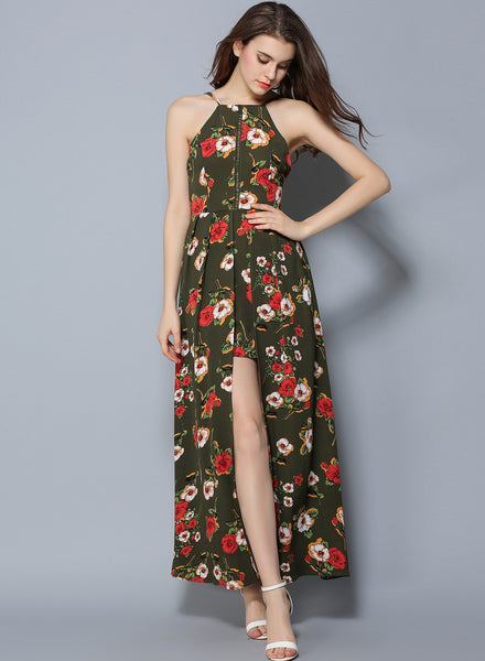 Green Sleeveless Floral Printed High Slit Bohemian Maxi Dress