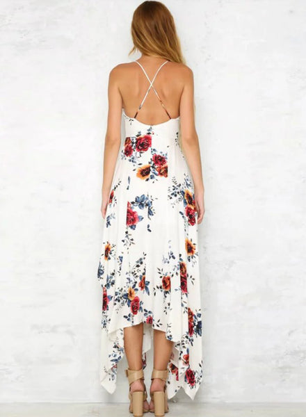 Sleeveless Floral Printed Irregular Maxi Dress