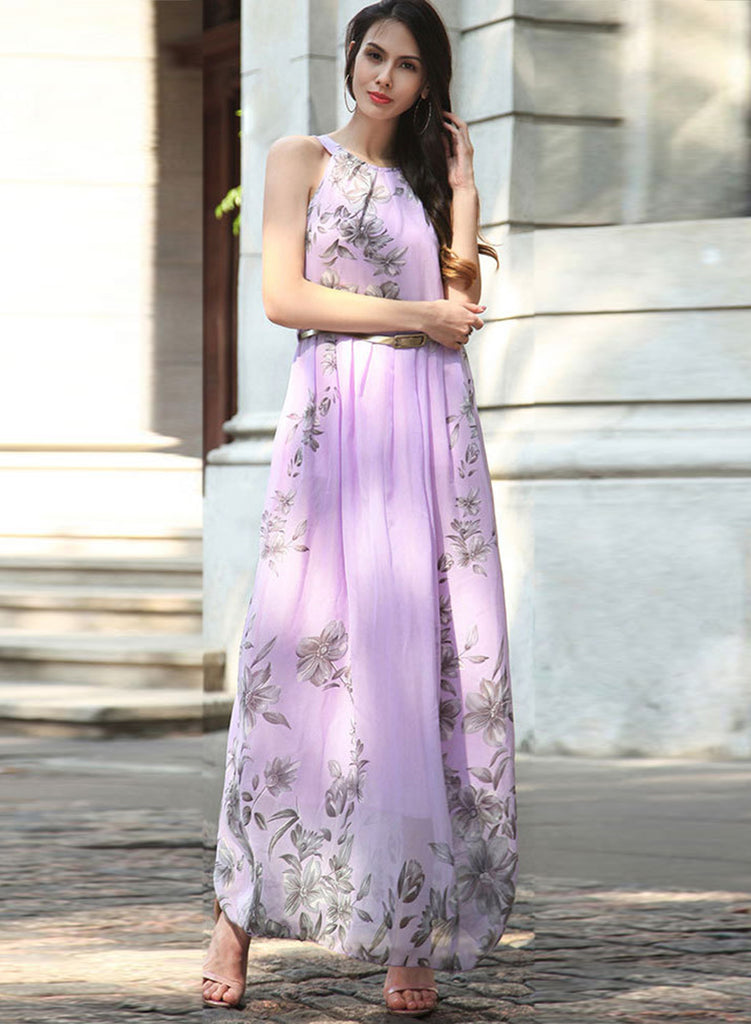 Sleeveless Floral Printed Maxi Dress with Belt