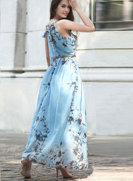 Sleeveless Floral Printed Maxi Dress with Belt - girlyrose.com
