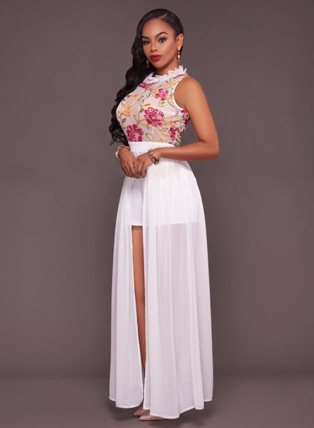 Sleeveless Floral Printed Mesh Jumpsuit Maxi Dress - girlyrose.com