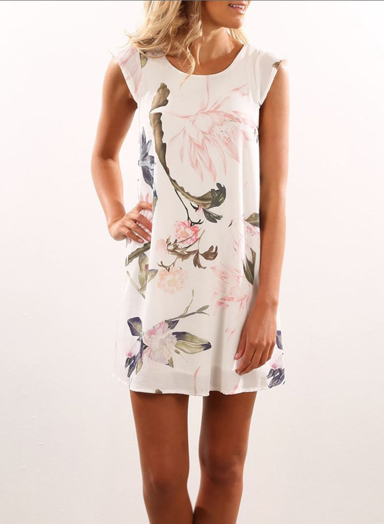 Sleeveless Floral Printed Mini Chiffon Dress - girlyrose.com