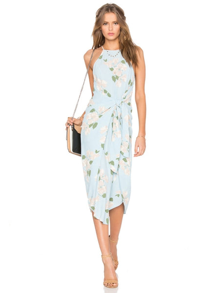 Sleeveless Floral Printed Tie front Midi Dress - girlyrose.com