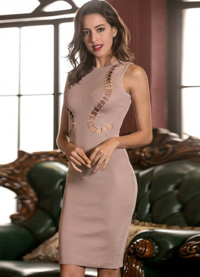 Sleeveless Hollow Out Party Bodycon Dress - girlyrose.com
