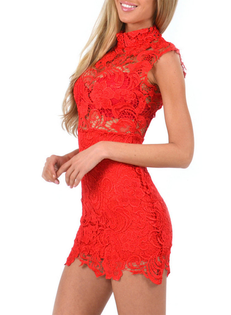 Red Sleeveless Lace Bodycon Mini Club Dress