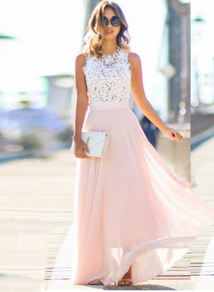 Sleeveless Lace Chiffon Evening Dress - girlyrose.com