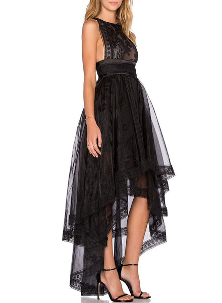Sleeveless Layered High Low Party Evening Dress - girlyrose.com