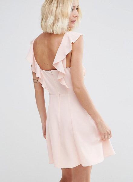 Sleeveless Ruffle Trim Solid Dress - girlyrose.com