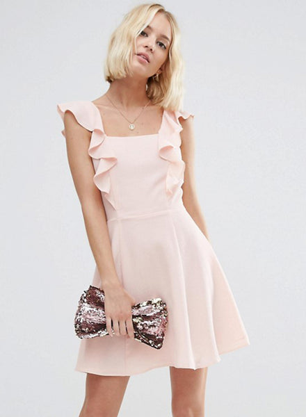 Sleeveless Ruffle Trim Solid Dress