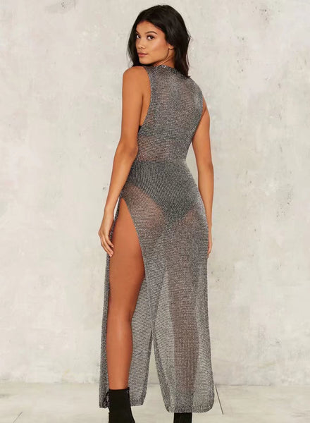 Sleeveless Side High Split Slim Fit Maxi Dress