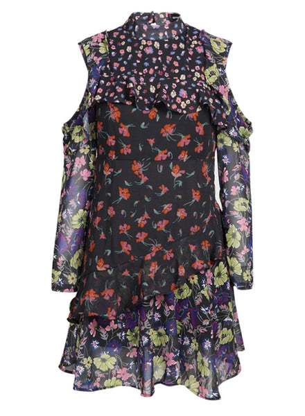 Slim Fit Long Sleeve Floral Mini Dress - girlyrose.com