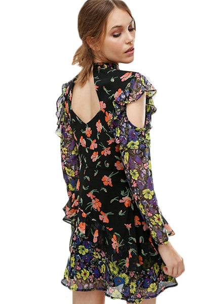 Slim Fit Long Sleeve Floral Mini Dress