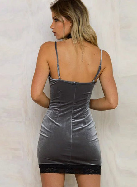 Grey Solid Color Slim Spagaetti Strap Bodycon Dress