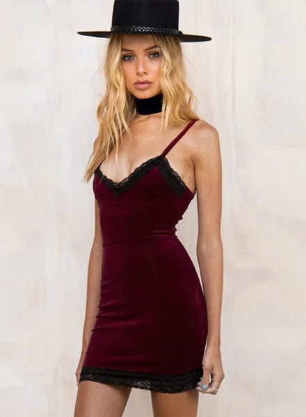 Burgundy Solid Color Slim Spagaetti Strap Bodycon Dress - girlyrose.com