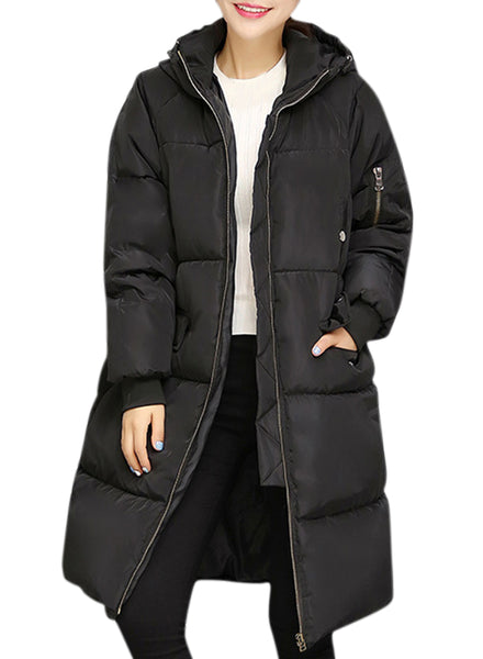 Solid Color front Zip Long Hooded Down Coat - girlyrose.com